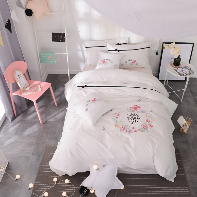 3/4Pcs 100% Cotton Fresh Fashion Bedding Set Applique Embroidery Duvet cover set Bed Sheet Pillowcase Twin Queen King size3/4Pcs 100% Cotton Fresh Fashion Bedding Set Applique Embroidery Duvet cover set Bed Sheet Pillowcase Twin Queen King size