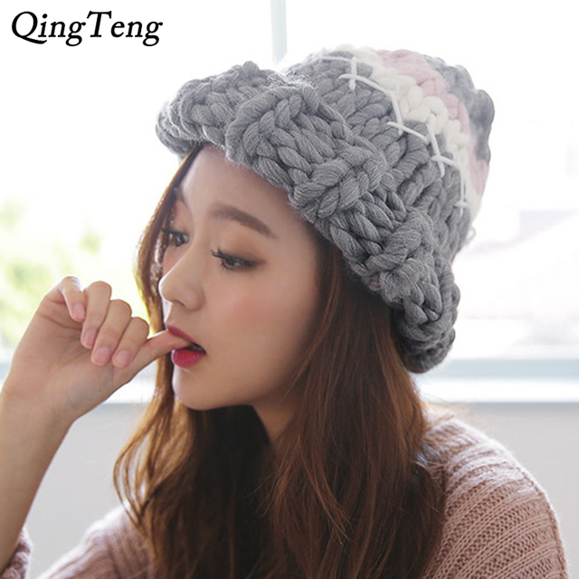 b0d07fd26 US $9.3 |Coarse Lines Cable Hats For Women Winter Warm Cap Handmade Knitted  Beanie Crochet Caps Pointy Witch Hat Fashion Casual Hat Femal-in Skullies  ...