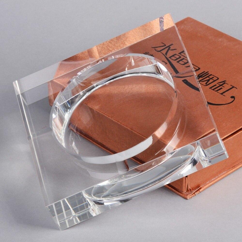Cendrier à cigares cendrier en cristal clair pour intérieur extérieur diamètre 5.7 pouce carré en forme de cendrier