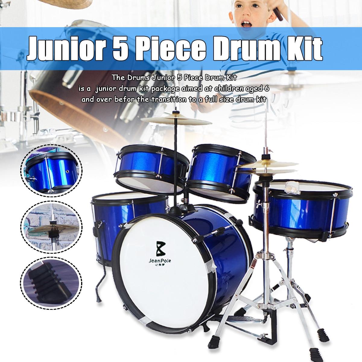 Дети Junior барабаны комплект 5 шт. полный тарелки размеры 16 Черный Новый барабанные Музыкальные инструменты играть в обучение Развивающие иг
