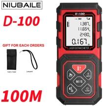 Sale NIUBAILE 100M Laser Rangefinder Roulette Trena Laser Distance Meter Digital Laser Tape Area-volume-Angle Rule Tool D100-ZM-R