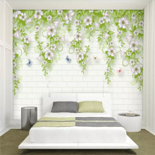 3D wallpaper small fresh morning glory TV background wall professional production mural photo
