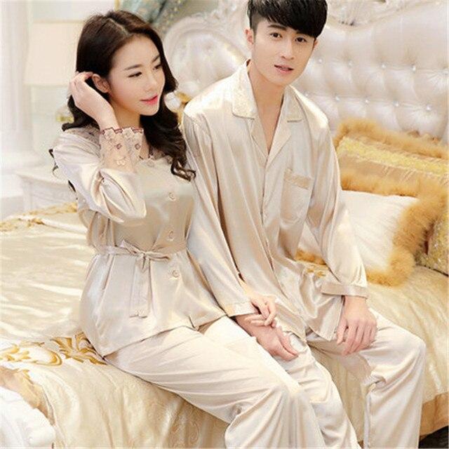 af6fceb6c2 Womens Lace Silk Sleepwear Pajamas Sets Satin Spring Autumn Long-sleeved  Couple Pyjama Leisure Loungewear Champagne Set L-3XL