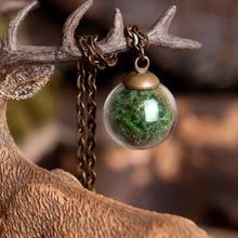 Зеленый мох ручной работы Стекло шар 16 мм шарообразный стеклянный флакон кулон ожерелье 70 см в длину(готовое ожерелье