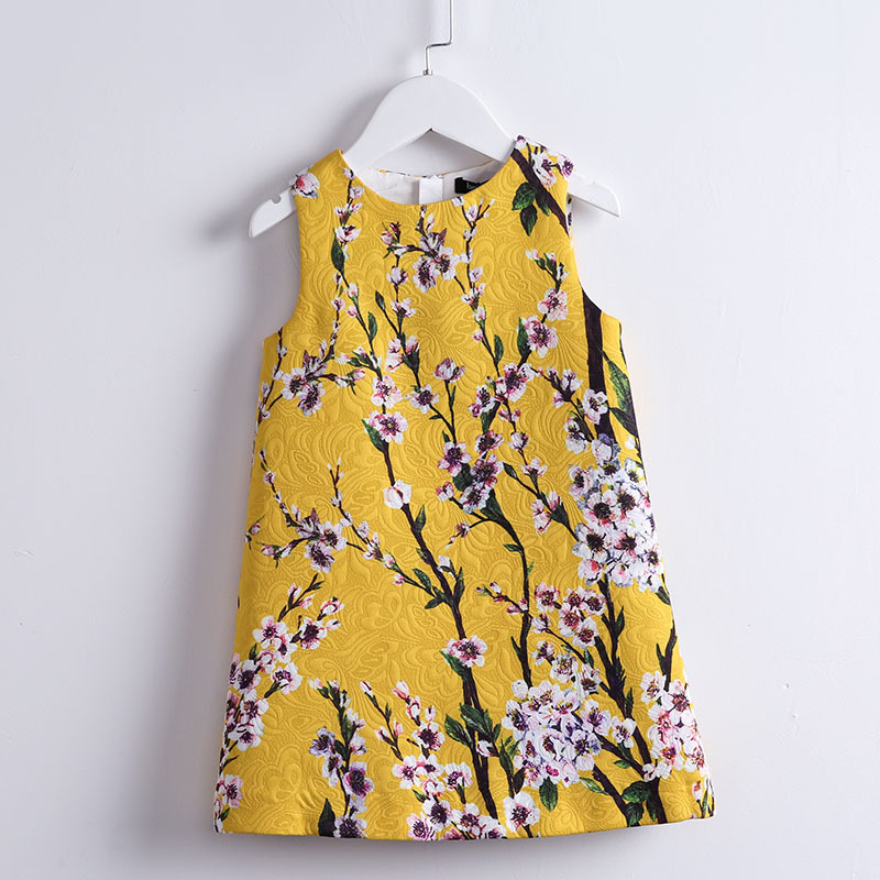 Spring Autumn Kids girls Clothing children clothes A-line sleeveless floral printing sundress girl evening party formal dresses jewel neck sleeveless floral print a line belted dress