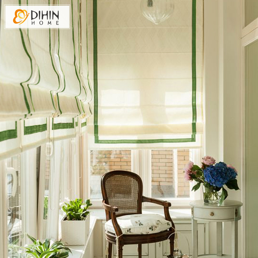 white color window blind high quality blackout curtain linencotton rollor blind roman shade blinds - Blackout Roman Shades