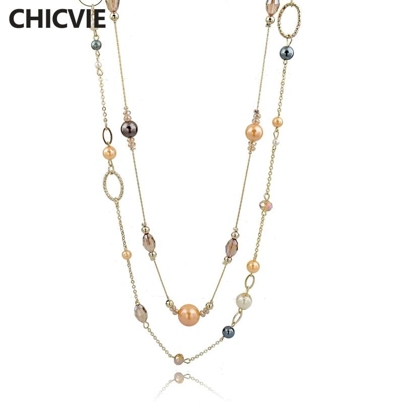 Купить chicvie длинные ожерелья и подвески из натурального камня для