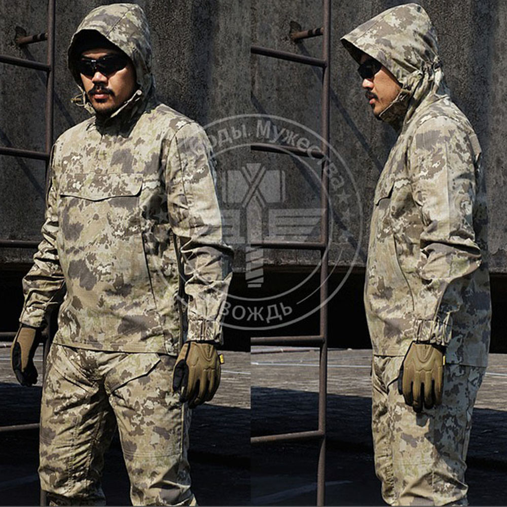 Outdoor Male Camouflage Tactical Training Suit Durable Assault Combat CS Clothing Set (Jacket+Pants) Military Uniform outdoor angel army fans military clothing camouflage suit wear cotton uniforms work service tactical training set jacket pants