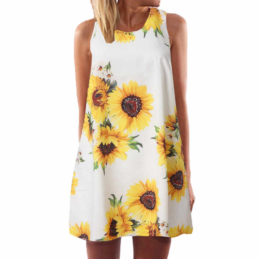 Sleeper #401 2019 Summer hot dress Vintage Boho Women Sleeveless Beach Printed Short Mini Dress casual simple gift Free Shippng