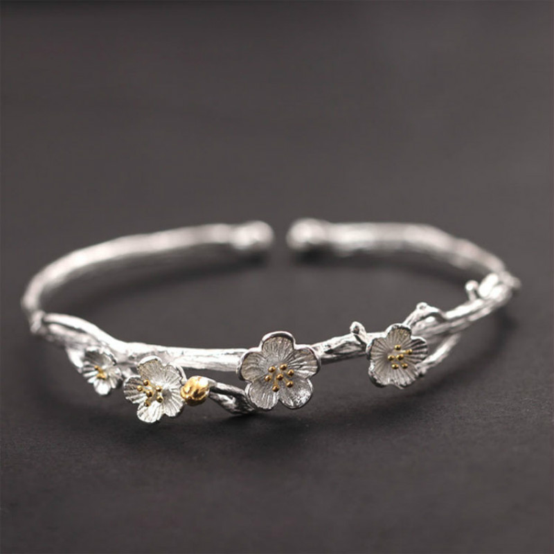 Handmade Vintage 925 Sterling Silver Jewelry Original Design Plum Flower Carving Cuff Bracelets& Bangles for Women купить в Москве 2019