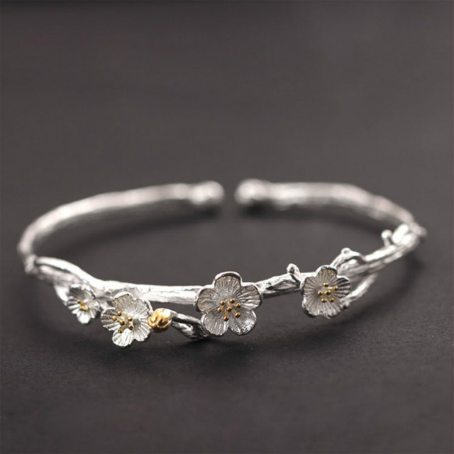Handmade Vintage 925 Sterling Silver Jewelry Original Design Plum Flower Carving Cuff Bracelets Bangles For Women