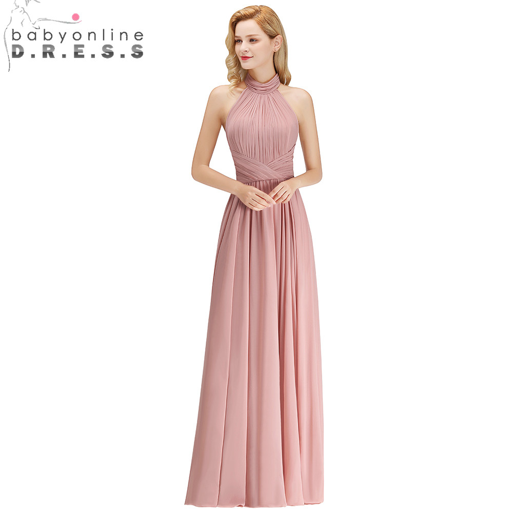 2019 New Dusty Rose Halter   Bridesmaid     Dresses   Pleat Cheap Chiffon Wedding Party   Dresses   Backless Long Prom Gown   Dresses