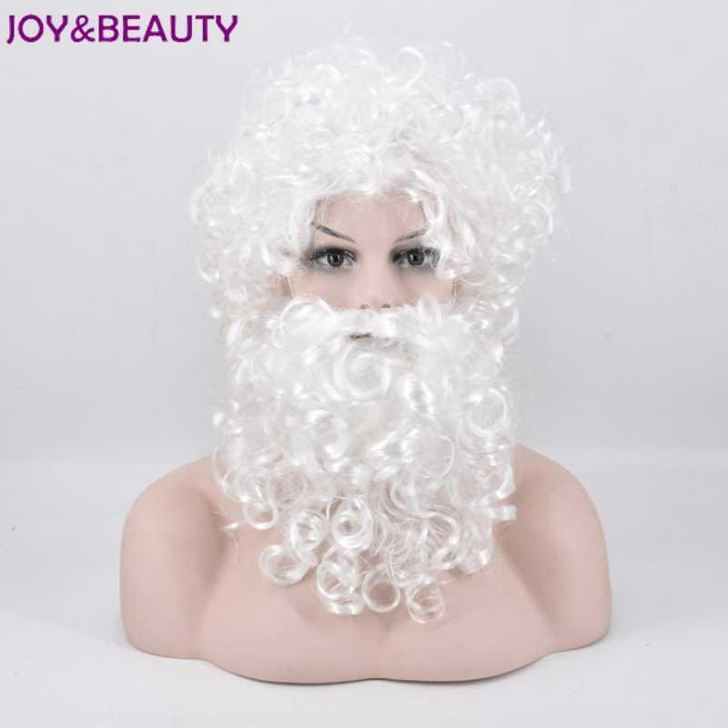 Glädje och skönhet Kort krusigt hår Vit Santa Paryk och Skägg Set - Syntetiskt hår - Foto 1