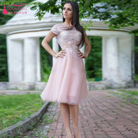 Pink Knee-Length homecoming Dress Lace appliques Sweety Wedding guest cocktail Party Dress 2016 vestido de festa curto  Z125