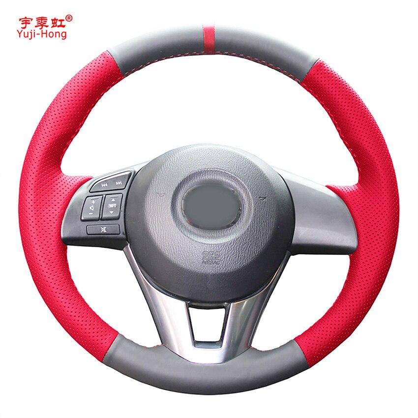 Artificial Leather Car Steering Wheel Covers Case For Mazda 3 Axela Mazda 6 Atenza Mazda 2 CX-3 CX-5 Scion IA 2016