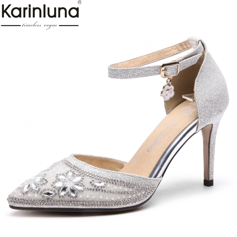 Karinluna sexy large Size 32-47 pointed toe thin high Heels Shoes Woman crystals Party wedding brides pumps women shoesKarinluna sexy large Size 32-47 pointed toe thin high Heels Shoes Woman crystals Party wedding brides pumps women shoes