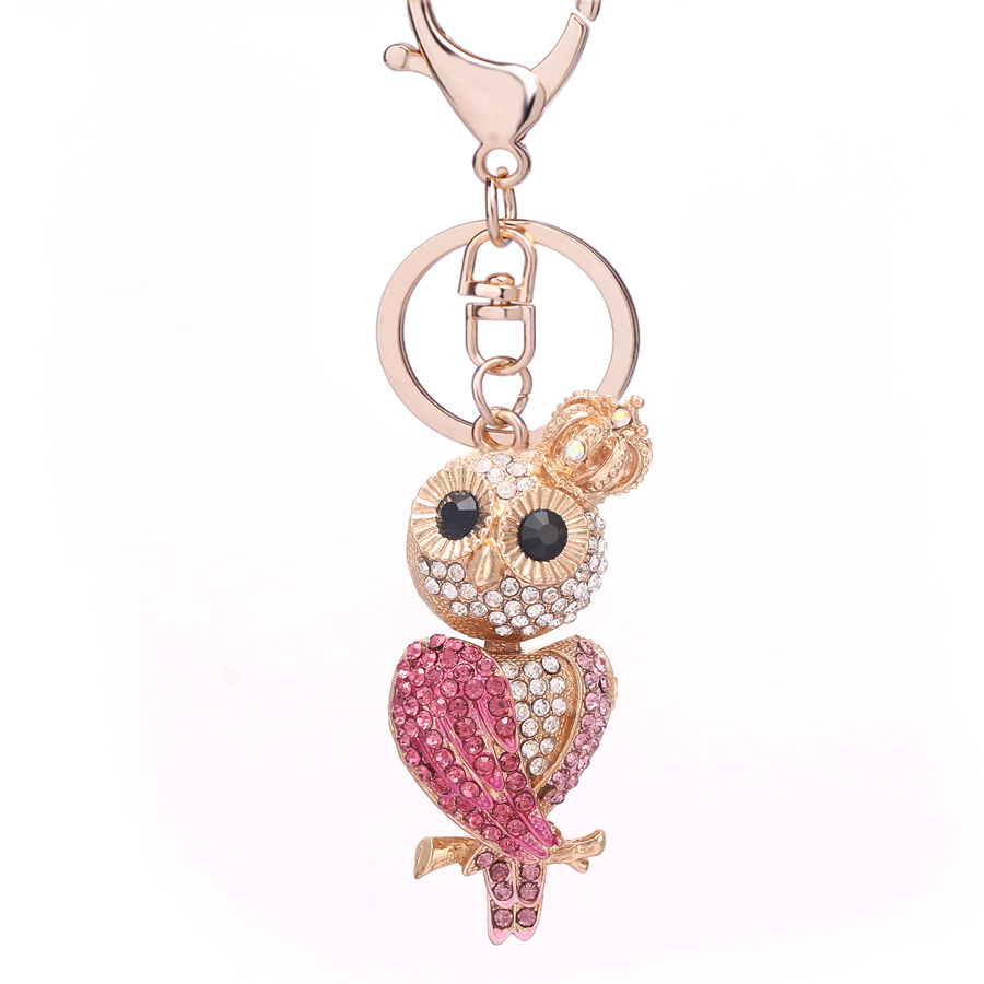 Crowned Owl Crystal Rhinestone Keyring Charm Purse Bag Keychain Bling Xmas Gift