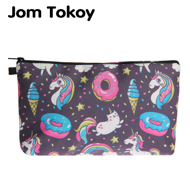 Jom Tokoy Cosmetic Bag Fashion Women Brand makeup bag 3D Printing Unicorns and donuts cosmetic organizer bags jom tokoy 3d printing unicorn makeup bags multicolor pattern cute women cosmetic bag