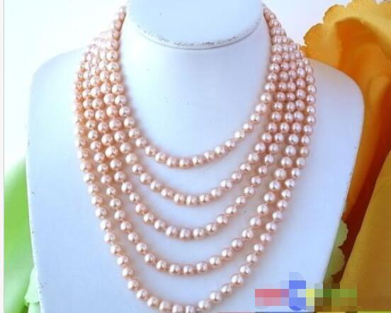 """Hot sale new Style >>>>>LONG 100"""" 9MM PINK ROUND FRESHWATER CULTURED PEARL NECKLACE"""