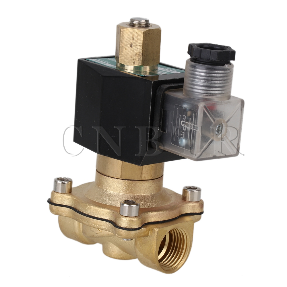 CNBTR 1/2 Brass Electric Air Water Solenoid Valve Low Power Consumption 220V AC N/O 3 8 electric solenoid valve water air n c all brass valve body 2w040 10 dc12v ac110v