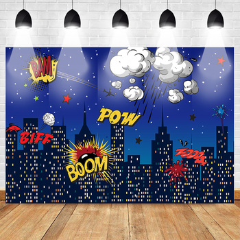 Super Hero Theme Backdrop for Photography Boom Birthday Party Banner Props for Boys Night Shiny Stars Cloud Buildings Pow Biff image