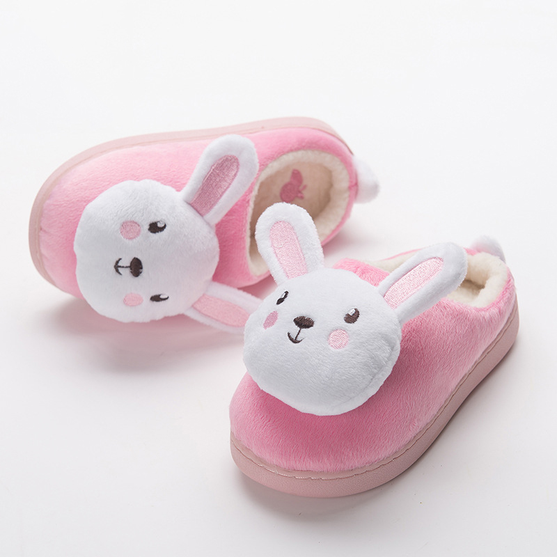Danioiity Cotton Slippers for Toddler Warm Soft Kids House Slippers Boys Anti-Slip Home Shoes