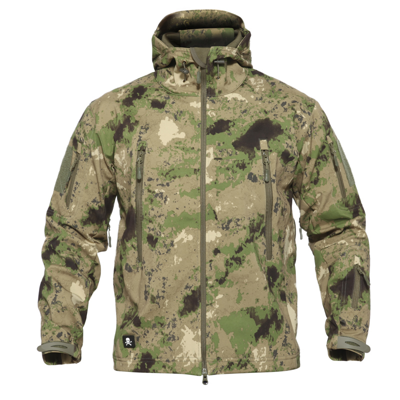TAD piel de tiburón, ropa deportiva camuflada, chaqueta