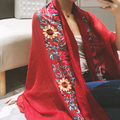 Flax Flower Embroidered Indian Cotton Scarf Spring Womens Scarfs Fashionable Travel Autumn And Winter Scarves Shawls And Scarves
