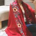 Lino Bordado de Flores De Algodón Indio Bufanda de Otoño E Invierno los Viajes de Primavera Para Mujer de Moda Bufandas Bufandas Chales Y Bufandas