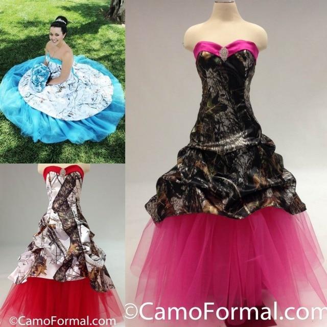 Vestidos De Novia Colorful Red Blue Pink Camo Wedding Dress Ruffles Long Hot S Camouflage