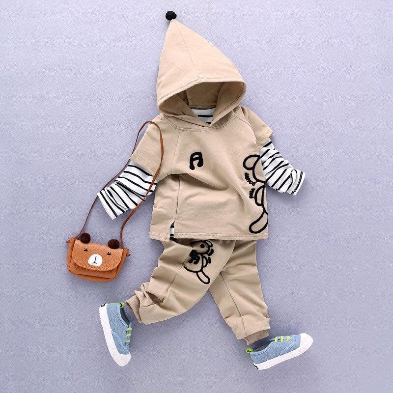 Conjuntos de Roupas meninos Algodão Moda Padrão Dos Desenhos Animados Hoodies Listrado + T-shirt + Calças 3 pcs Terno Primavera Outono crianças Conjuntos de Roupas de Bebê