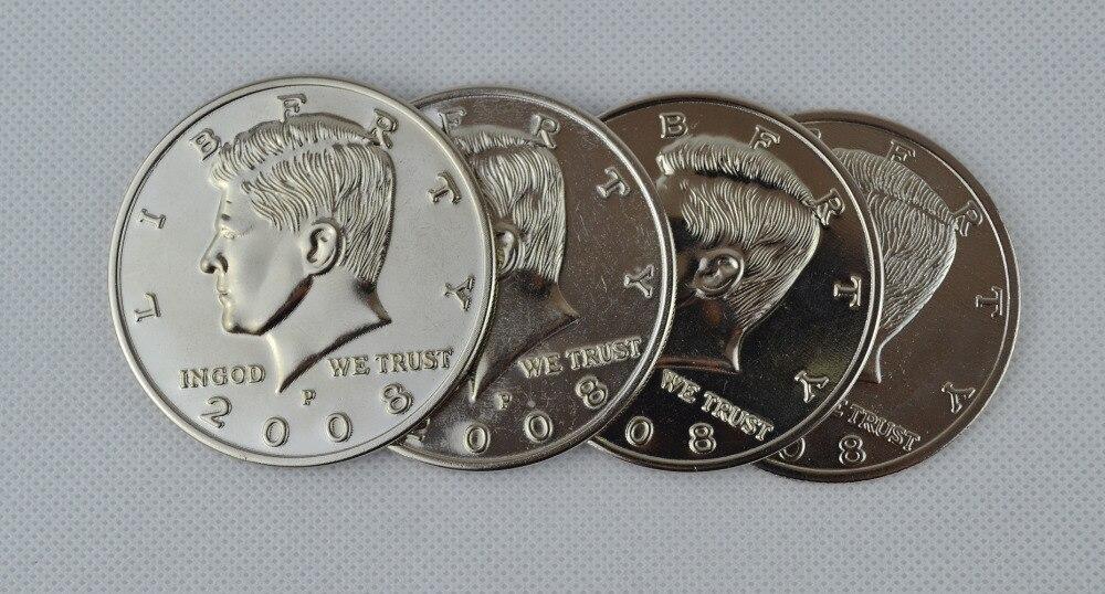 Juego de conchas Jumbo de medio dólar 3 + 1 (Dia 5,8 cm) una moneda a cuatro trucos de magia mago Primer plano accesorios Gimmick accesorios comedia
