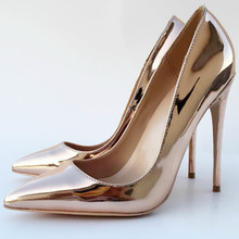 Keshangjia 2018 new spring and autumn new high heels fine with shallow mouth mirror pointed shoes solemn sexy fashion shoes