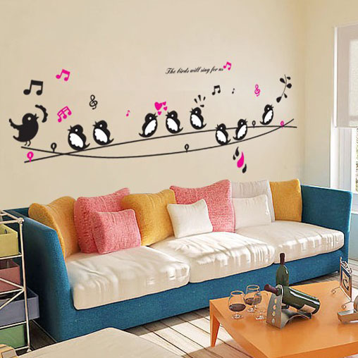 Buy 1 Get 1 Minion Birds Singing Music DIY Wall Decor Wall Stickers Animals  Poster Decorations