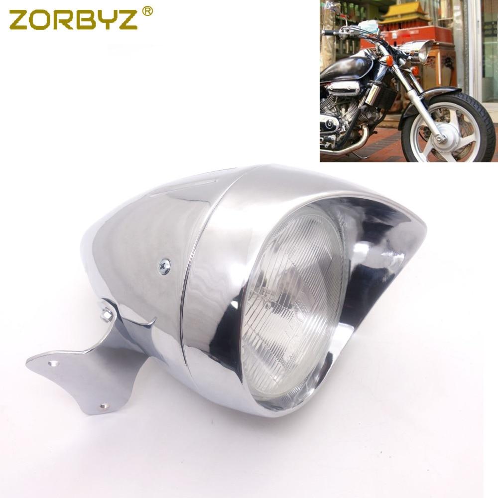 ZORBYZ Motorcycle Black/Chrome Metal Bullet Headlight For Honda Magna 750 Shadow 600 750 1100 VT750 Custom Harley-Davidson Sportster