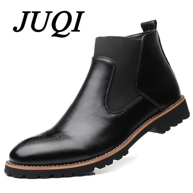 JUQI Erkekler Chelsea Botları Slip-on Su Geçirmez yarım çizmeler Erkekler Brogue Moda Botları Mikrofiber deri ayakkabı Büyük Boy 38-48
