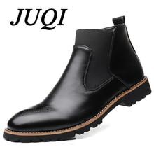 JUQI Men Chelsea Boots Slip-on Waterproof Ankle Boots Men Brogue Fashion Boots Microfiber Leather shoes Big Size 38-48
