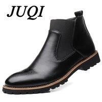 JUQI Men Chelsea Boots Slip on Waterproof Ankle Boots Men Brogue Fashion Boots Microfiber Leather shoes Big Size 38 48