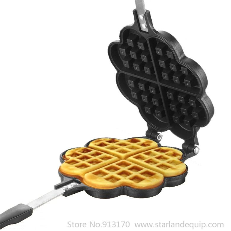 Waffle Iron Cake Pan Heart-shape Waffle Mold Non-stick Aluminum Waffle Mould Pan Baking Bakeware Waffle Cake Baking Tool dekok square cake pan