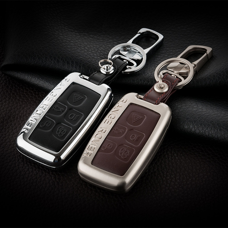 Zinc alloy Leather Car Key Case Bag For Land Rover RANGE ROVER SPORT Evoque Freelander 2 DISCOVERY 4 Key Chain Covers|Key Case for Car| |  - title=