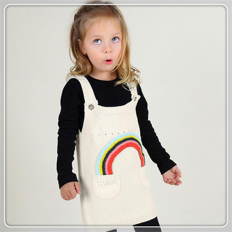 Осеннее вязаное платье-комбинация для маленьких девочек радужное платье в элегантном дизайне одежда для детей от 12 месяцев до 5 лет