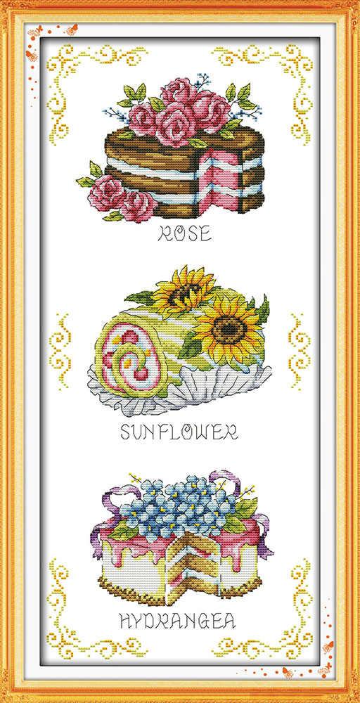 Чайник десерт торт Красочные цветы живопись Счетный принт на холсте DMC 11CT 14CT наборы крестиков Наборы для вязания вышивка