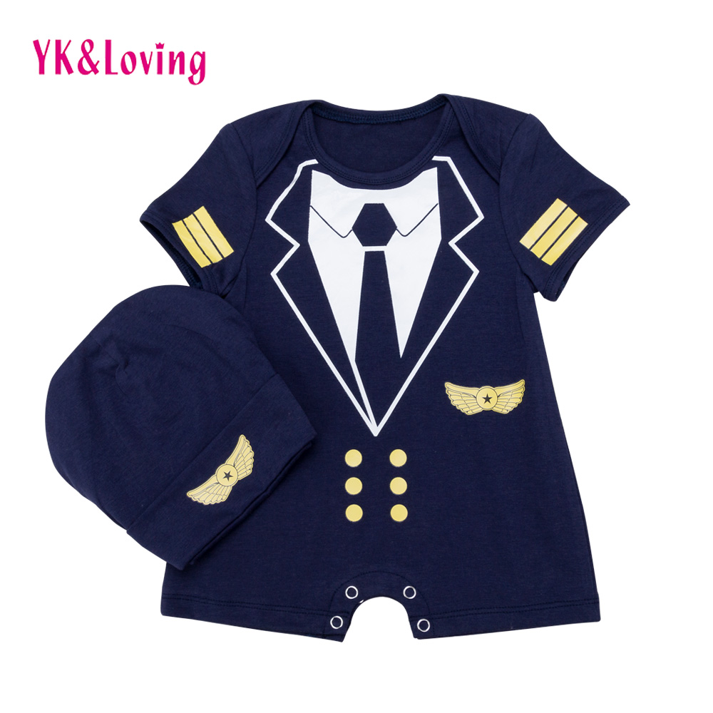 Cotton Boy Romper Short Sleeve Newborn Baby Clothes Baby Boys 2Pcs Clothing Set Navy Infant Jumpsuits+Hat 2017 Infant A