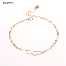 Gold Chain Love Heart anklet bracelet tobillera ankle pulseras para el pie foot jewelry anklets women cavigliera chaine cheville