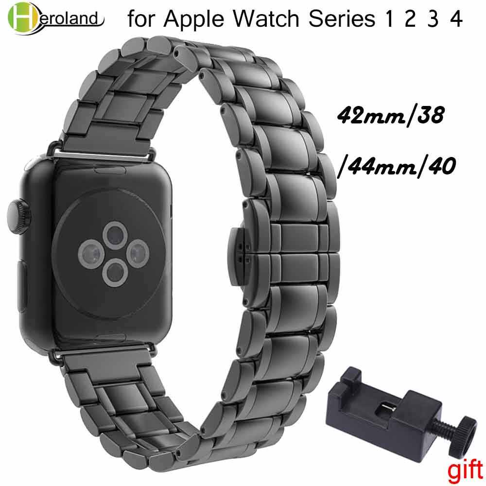 Correa de reloj de acero inoxidable de lujo para apple watch band 42mm/38mm/44mm/40 link pulsera correa para muñeca iWatch 4/3/2/1