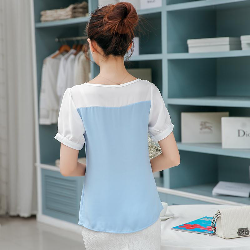 78970b04cd8 Korean Fashion Girls 2015 Summer Style Sweet Cute Slim Patchwork Chiffon  Short Sleeve Appliques Casual Plus size Shirts Blouses-in Blouses   Shirts  from ...