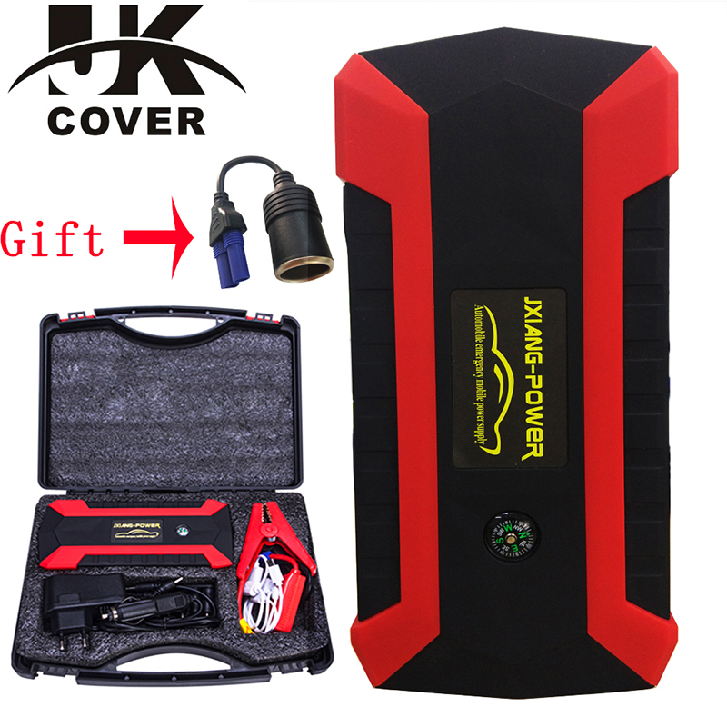 JKCOVER 68000mWh 800A Car Jump Starter for Petrol Car Battery Charger Emergency 60C Discharge Auto Starting High Power Pack Bank car 3 in 1 multifunction car usb charger thermometer voltmeter 1pc digital meter monitor 12v 24v usb charger for mobile phone
