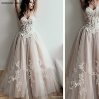 Beautiful Long Ivory Lace Champagne Tulle A line Wedding Dresses Bridal Gowns Vestido De Noiva with Beaded Sash