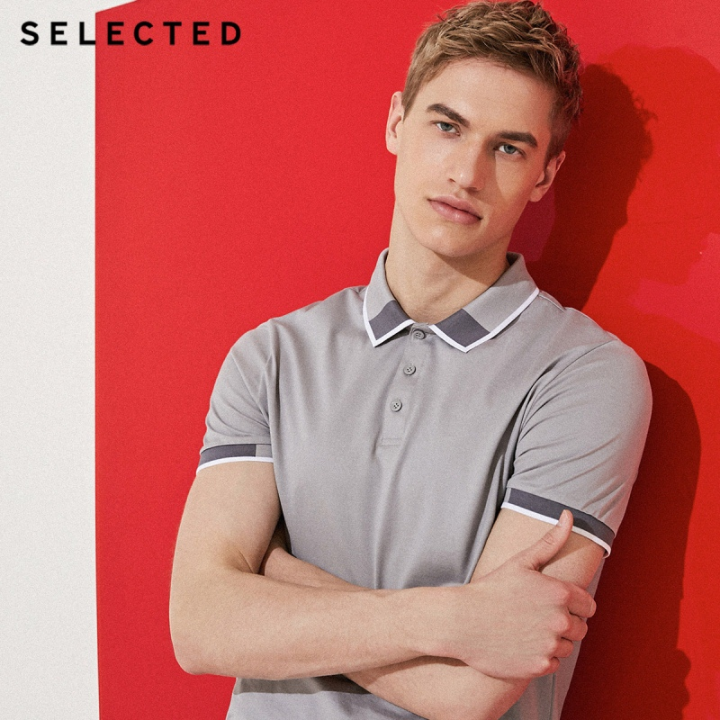 SELECTED  Mens Cotton Color Splicing Leisure  Collar Poloshit S41823Z523T-Shirts