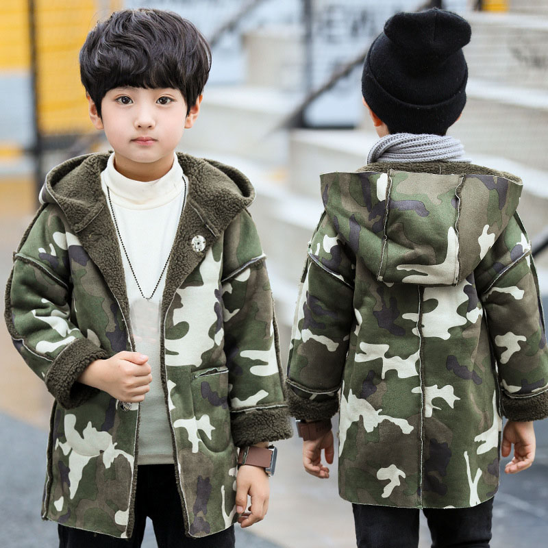 fleece hooded trench coats for boys camouflage long warm jackets kids tops clothes children winter jacket cotton boys outerwears children winter coats jacket baby boys warm outerwear thickening outdoors kids snow proof coat parkas cotton padded clothes